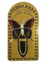 Gold Plated Mottled Green, Black & Orange Colourful Butterfly Bookmark